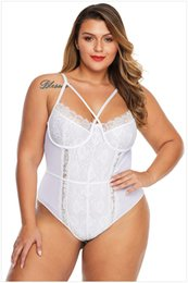 lingerie bodies Canada - Sexy Bodysuits Lingerie For Women 2020 Plus Size Lace Bodysuit Cross Front Jumpsuit Black White Skinny Sexy Pyjamas Shape up Body