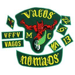 Großhandel VAGOS NOMADS FULL SETS Stickapplikationen Punk Biker Patches Kleidung Aufkleber Bekleidung Accessoires Badge 9PCS / SET