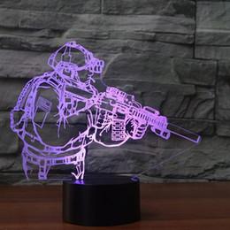Figures Australia - 3D Table Lamp LED Novelty Acrylic Soldier Modelling USB Figure Shape Nightlight Decor 7 Colors Indoor Baby Sleep Lighting Gifts