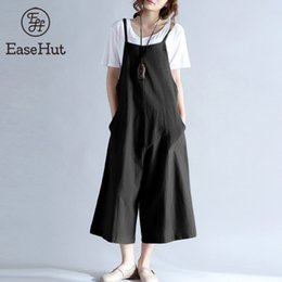 $enCountryForm.capitalKeyWord NZ - Easehut 2019 Plus Size Women Cotton Pockets Long Wide Leg Romper Strappy Dungaree Overalls Casual Loose Solid Jumpsuit Trousers MX190726
