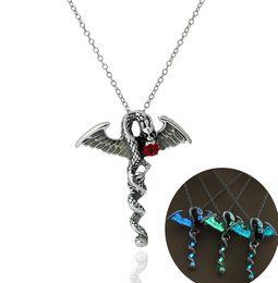$enCountryForm.capitalKeyWord Australia - Vintage Silver Luxury Glow In The Dark Choker Necklaces Flying dragon Gem Vintage pendant For Unisex Men women Ladies luminous