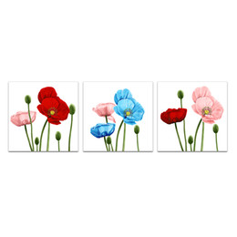 Unframed Canvas Prints Australia - Unframed Elegant Wall Art for Living Room Blue Red Pink Poppy Flowers Painting Picture Nature Canvas Art Giclee Prints