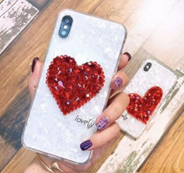 Wholesale iphone8 cases resale online - Bling Crystal Heart Phone Case For IphoneX s plus Soft back cover for iPhone8 plus