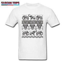 86444e411 Elephant Dance T-shirt Men Om T Shirt Tribal Art Design Tops Tattoo Print Tees  Mens Cotton Black White Clothes Plus Size Tshirt