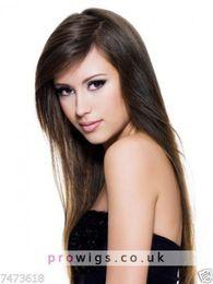 Human Hair Wig Beautiful UK - 100% Real Hair Beautiful Sexy Long Brown Straight Wig For Women Human Hair New