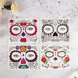 $enCountryForm.capitalKeyWord Australia - Facial makeup Sticker Special Waterproof Face tattoo Day of The Dead Skull Face dress up Halloween Temporary Tattoo Stickers D