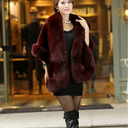 Womens shaWl coat online shopping - Luxury Elegant Womens Faux Mink Cashmere Winter Warm Fur Coat Shawl Cape Fashion Solid Ladies Faux Fur Poncho HO704471