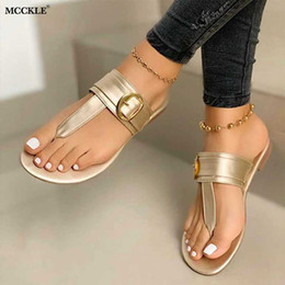 flat tie clip NZ - Women Clip Toe T tied Slippers Fashion 2020 Pu leather Sandals Summer Ladies Flat Shoes Woman Beach Female Casual Flip Flops New