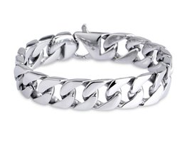 $enCountryForm.capitalKeyWord Australia - Luxury Mens 316L Stainless Steel Bracelets Link Chains Width 19cm 20cm 21cm 22cm Silver Curb Cuban Bracelet for Men Hip Hop Jewelry G825R F