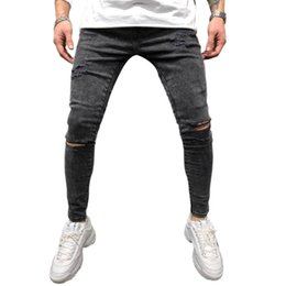 Wholesale comfy jeans resale online – New Fashion Men Skinny Fit Ripped Pants Destroyed Comfy Stretch Slim Hole Jeans Pencil Pants Gray