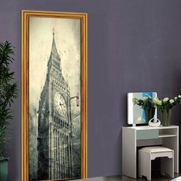 British Style London Big Ben Classic Door Sticker DIY Mural Waterproof Removable Home Decoration Poster PVC