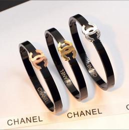 $enCountryForm.capitalKeyWord Australia - wholesale high quality brand 3 colors gold rose gold silver hip hop letter cuff bangle bracelet for men women 19cm size