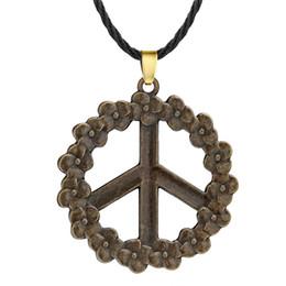 Peace Symbol Pendants Wholesale Australia - Huilin Jewelry Antique Bronze Floral Anti War Flower Garland Pendant Necklace for Women Men Peace Symbol Jewelry Birthday Gift Charm