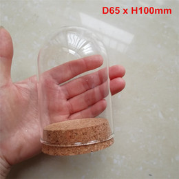 Glass Display Cases Wholesale Australia - 60 x Empty Clear Glass Cloche Bell Jar Display Case With Round Cork Base For Wedding DIY Decor D65 x H100mm Wholesale