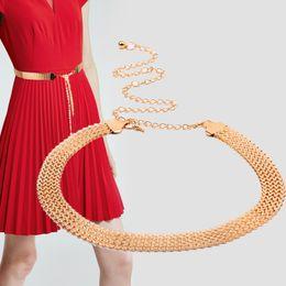 $enCountryForm.capitalKeyWord Australia - Maxi Women's Golden Alloy Wavy Braided Belt Chain, Adjustable Wide Gridle Band for Women Wear with dress, Joker fashion Belt