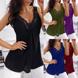 $enCountryForm.capitalKeyWord NZ - Women's Fashion Sleeveless Lace Sexy Casual Tank Tops Solid Color Loose Summer Shirts Vest