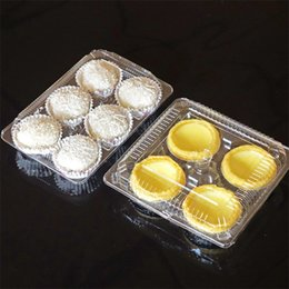 Cupcake Packaging Plastic Wholesale NZ - Blister Transparent Cake Mooncake Boxes Cupcake Cookie Egg Tart Packaging Boxes Hold 4 6 Cakes QW9073