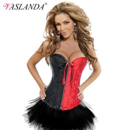 Body Tutu Australia - VASLANDA Women Steampunk Corset Dress Tutu Skirt Corselet Overbust Bustier Boned Lace Up Gothic Clothing Body Shapewear Costume