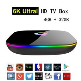 Android Media Player Quad Australia - Q Plus Android 9.0 TV Box 4GB 32GB Allwinner H6 Quad Core 6K Ultral HD Streaming Media Player 2.4G Wifi Smart Set Top Box USB 3.0