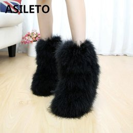 Open tOe flats online shopping - ASILETO Winter Women Snow Boots Genuine Real hairy Ostrich Feather furry Fur flats plush warm ski outdoor boots bootie shoesT517