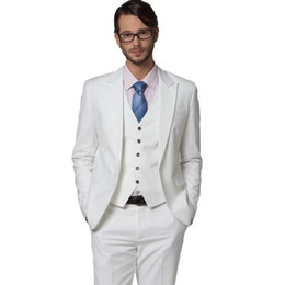 ivory tuxedos for sale UK - Classic White Men's Wedding Suits Three Pieces (Blazer+Pant+Vest) High Quality Bridegroom Tuxedos With Peaked Lapel For Sale