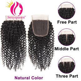 $enCountryForm.capitalKeyWord Australia - Brazilian Kinky Curly Lace Closure Middle Three Free Part Bleached Knots Human Hair Lace Closure 4x4 Remy Hair Closure Natural Color