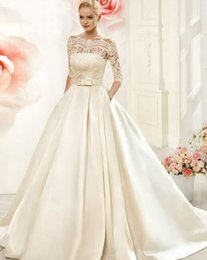 turkey pictures NZ - Modest half Sleeves Wedding Dresses with Pockets beteau Satin lace Appliqued sweep train A Line 2019 Bridal Gowns Turkey Vestidos de Novia