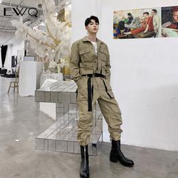 Green Vintage Jumpsuit Australia - EWQ Men Vintage Fashion Streetwear Hip Hop Casual Cargo Pants Male Long Sleeve Overalls Jumpsuit Harem Trousers Couple Clothes