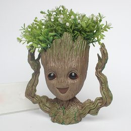 baby pots 2019 - Guardians of The Galaxy Flowerpot Tree Man Baby Groot Action Figure Pen Container Doll Cute Model Toys The Avenger Pen F