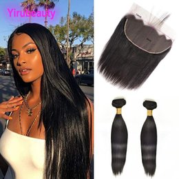 raw virgin hair bundles lace closure UK - Indian Raw Virgin Hair Wholesale Two Bundles With 13x6 Lace Frontal With Baby Hair Natural Color Mink Straight Hair Wefts With Closure