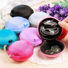 Wholesale Portable Case for Headphones Case Mini Zippered Round Storage Hard Bag Headset Box for Earphone Case SD TF Cards Earphone