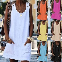 Loose white t shirt dress online shopping - Pocket Button Dress Summer Women T Shirt U Collar Short Sleeve Loose Polyester Fiber Material White Blue Breathable ry C1