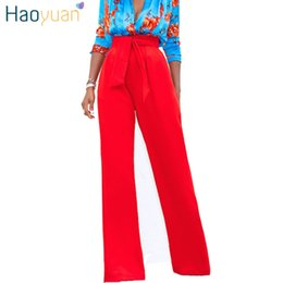 Red Wide Leg Pants Australia - Haoyuan High Waist Wide Leg Women 2018 Summer Autumn Loose Black Red White Yellow Trousers Casual Bell Bottom Pants C19040401