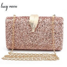 Handbags Bling Australia - Fashion Sequined Clutch Women's Evening Bags Bling Day Clutches Gold Color Metal Leaf Lock Wedding Purse Female Handbag Y19061301