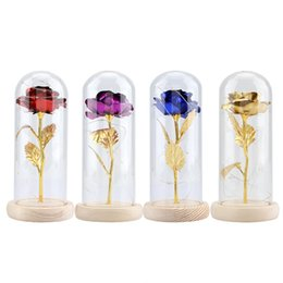 $enCountryForm.capitalKeyWord Australia - Preserved Rose Flower LED Light with Glass Cover & Wooden Base Valentines'Day Wedding Gift Party Wedding Valentine Gift Rose