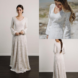 Discount muslim beach wedding dresses - modest lace wedding dresses v neck long sleeves full length beach boho bridal gowns with beaded belt or guest cheap robe