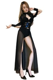 clubwear dresses cut outs UK - Night Bar ds costumes stage clothes sexy singer lead dancer clothes free shipping black gauze dress stitching
