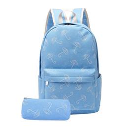 $enCountryForm.capitalKeyWord Australia - 2pcs set Fashion Women Girls Backpack Preppy Umbrella Print Big School Pen Bag Casual Large Capacity Shoulder Bags mochilas