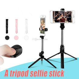 extendable handheld tripod NZ - Bluetooth Selfie Stick Mini Tripod Selfie Stick Extendable Handheld Self Portrait with Bluetooth Remote Shutter for iPhone Android in Box