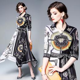 0b12ea7bd4 Vestido elegante de las mujeres Negro Blanco Patchwork Barroco Imprimir  dobladillo asimétrico fiesta noche cena vestidos de baile 3133