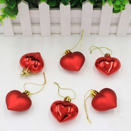 christmas tree shaped plastic ornaments NZ - 6PCS Pack Heart Shaped Christmas Pendant Balls Christmas Tree Decor Xmas Party Ornaments Plastic Small Cute Decorations For Home