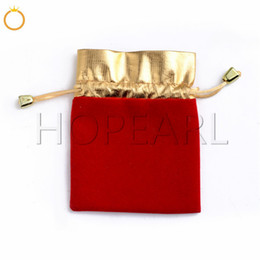 golden pouches Canada - HOPEARL Jewelry Red and Golden Velveteen Gift Bag Velvet Fabric Drawstring Pouch Different Size Wholesale 100 Pieces