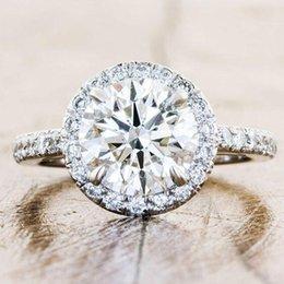 $enCountryForm.capitalKeyWord Australia - Dazzling 925 Sterling Silver Natural Gemstone Shining White Sapphire & Diamond Ring Wedding Engagement Jewelry Size 5-12