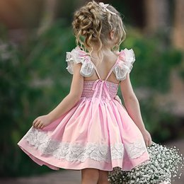 Discount cheap lolita clothes - Summer Baby Girls clothing Dresses for girl cotton Lace Flutter sleeve Princess Pink dress 9M 12M 2T 3T 4T 5T Wholesale