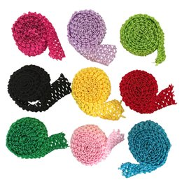 "$enCountryForm.capitalKeyWord NZ - 1.5"" Crochet Headband Ribbon Trim Roll by Meters Tutu Skirt Waistband Crochet Bands for Baby Girl Elastic Flower Headbands Boutique Supplies"