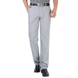 Men White Linen Casual Suits Australia - Summer Linen Business Casual Pants For Men Big Size Male Formal Classic Breathable 9 Colors Thin Office Suit Trousers For Mens
