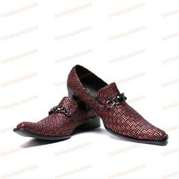 Shoes Metal Print Australia - High Quality Italian Style Brown Printing Men Genuine Leather Shoes Metal Charm Business Shoe Square Toe Wedding Men Dress Shoes