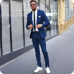 Plus Size Navy Blue Suit Australia - Smart Casual Blue Blazer Men Business Suits Slim Fit Terno Masculine Custom Male Blazer Two-Button Men Formal Suit Jacket Plus Size 2Piece