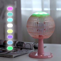 Colorful Cooling fans online shopping - Desk Fan Bluetooth Speaker Colorful Lamp Light Air Cooling USB Rechargeable Adjustable Speed Portable Home Office Travel