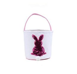 Hand carrying bag online shopping - Easter Basket Sequin Easter Bunny Baskets Mermaid Storage handbags Tote Hand Carrying Candy Bags Decoration Bucket GGA1703